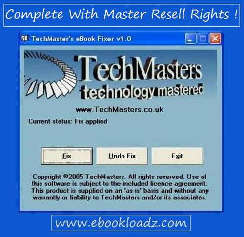 Product picture TechMasters eBook Fixer Software With Master Resell Rights !